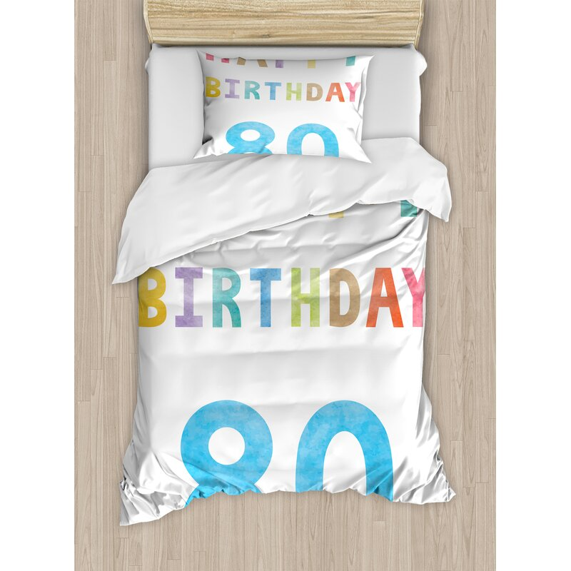 80th Birthday Decorations Old Ancient Abstract Vintage Happy Party Theme Artwork Duvet Set