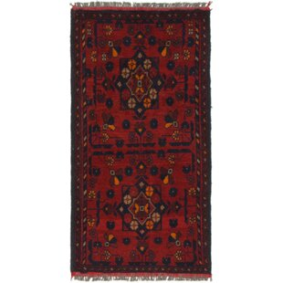 Reviews One-of-a-Kind Auxvasse Hand-Knotted 1'8 x 3'4 Wool Red/Black Area Rug By Isabelline