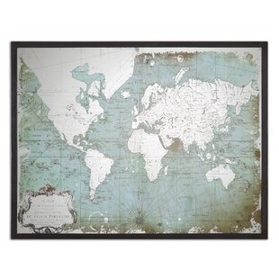 U0027Mirrored World Mapu0027 Framed Graphic Art Print