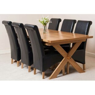 Baldev Kitchen Solid Oak Extendable Dining Set With 6 Chairs By Rosalind Wheeler