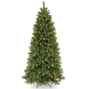 lehigh valley pine 75 green slim hinged artificial christmas tree with 450 colored clear lights