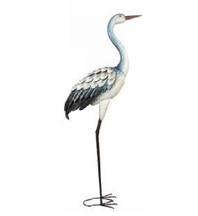 Rosecliff Heights Bray Standing Metal Blue Heron Statue