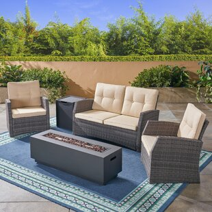 Gilmartin Outdoor 5 Piece Rattan Sofa Seating Group With Cushions by Highland Dunes Sale