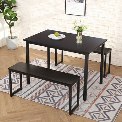Latitude Run Toger 3 Piece Solid Wood Breakfast Nook Dining Set