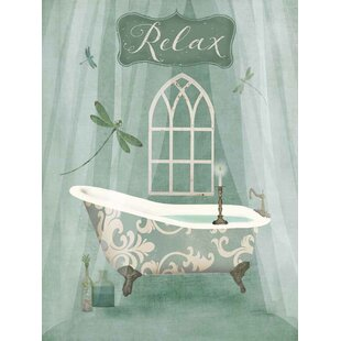 Vintage Bathroom Inspired Relax Green Bathtub By Beth Albert Graphic Art Print On Wrapped Canvas