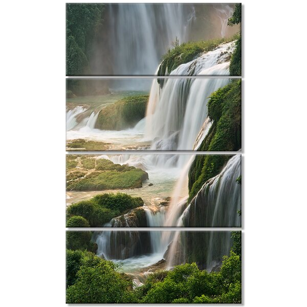 Designart Detian Waterfall 4 Piece Graphic Art On Wrapped Canvas Set Wayfair