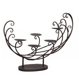 Decorative Tabletop 5-Candle Pillar Metal Candelabra