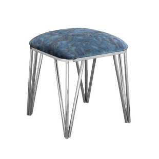 Everly Quinn Jeanelle Polished Upholstered Steel Ottoman