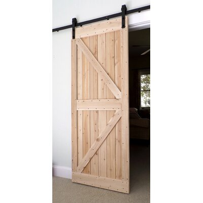 Bar Harbor Cedar Paneled Wood Finish Barn Door without Installation Hardware Kit