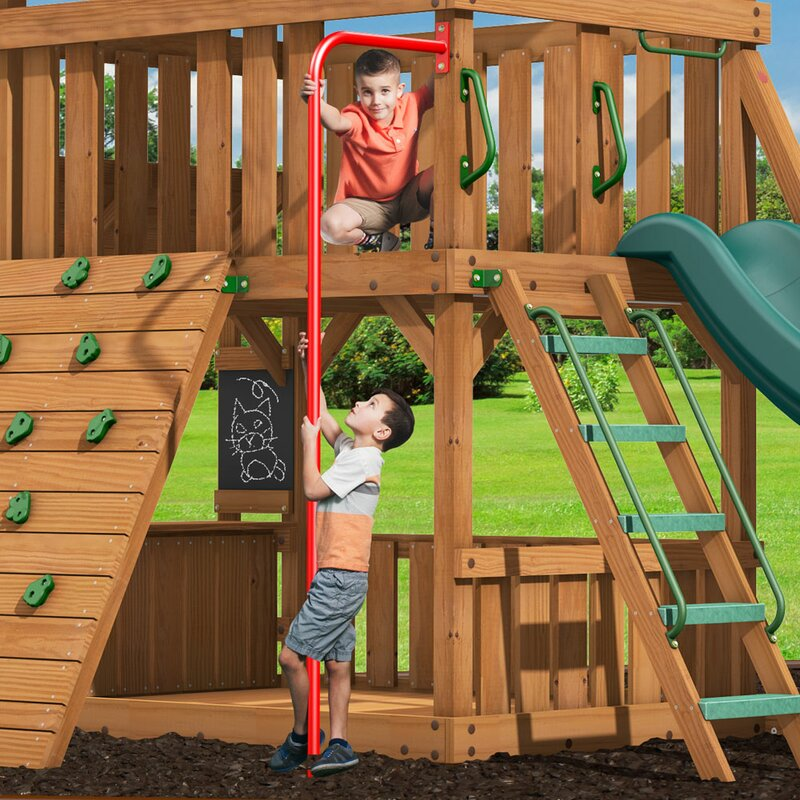 Monkey Bar Kit Green Surface Mount Outdoor Play Set Ladder Rung Rust Resistant