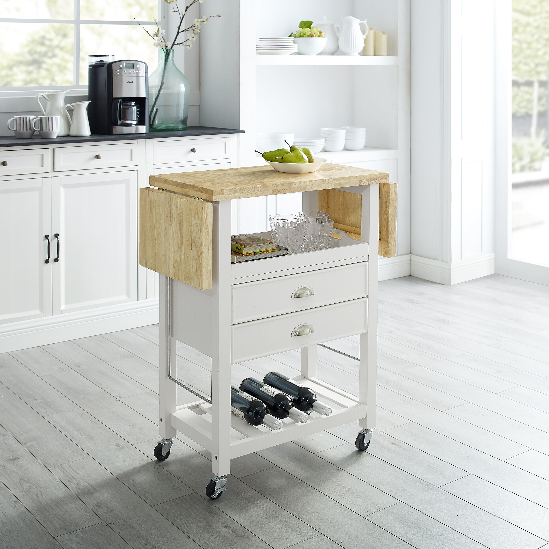 Three Posts Corell Park Drop Leaf Kitchen Cart Reviews Wayfair Ca