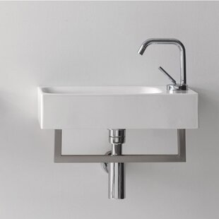Compare Cento Ceramic 18 Wall Mount Bathroom Sink with Overflow By WS Bath Collections