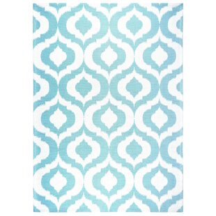 Rio Power Loom Polyester Teal/White Indoor/Outdoor Area Rug