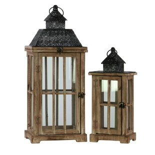 Bungalow Rose 2 Piece Wood Lantern Set