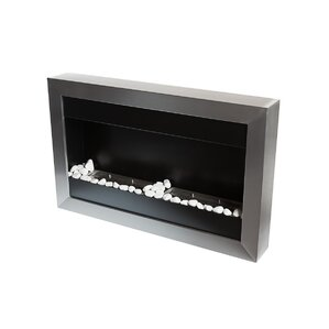 Square Small II Stainless Steel Ventless Wall Mounted Ethanol Fireplace with Safety Glass by Bio-Blaze