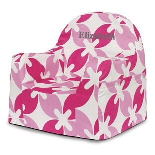 Little Reader Pink Leaves Personalized Kids Foam Chair with Storage Compartment ByP'kolino