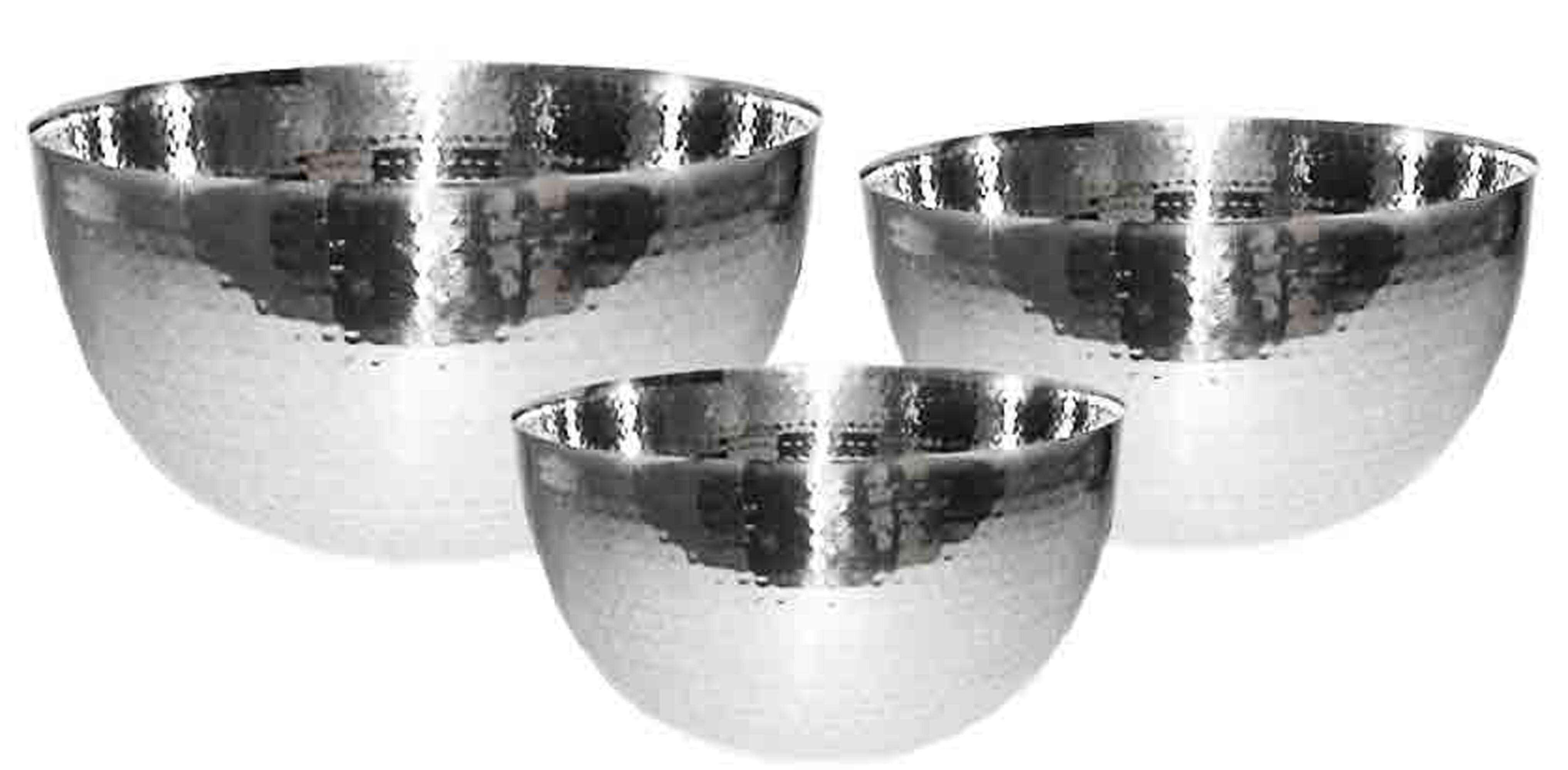 Universal Housewares Starcraft Hammered 3 Piece Stainless Steel Mixing Bowl Set Reviews Wayfair
