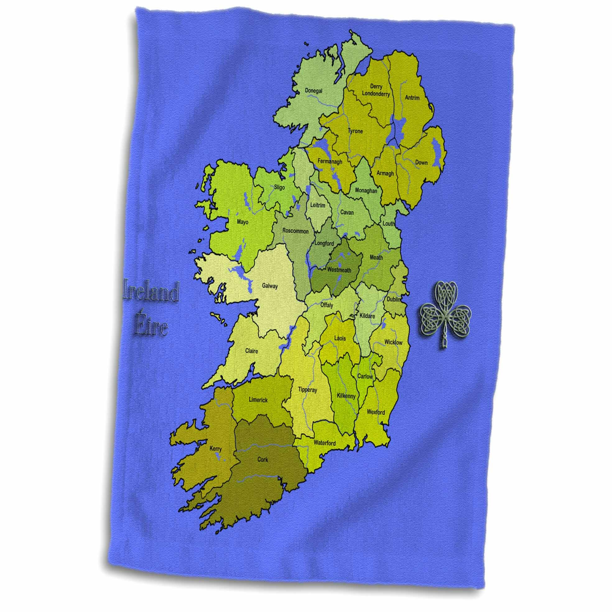 Map Of Republic Of Ireland Showing Counties.Haigh Ful Map Of All Ireland The Irish Republic And Northern Ireland With All Counties Shown Hand Towel