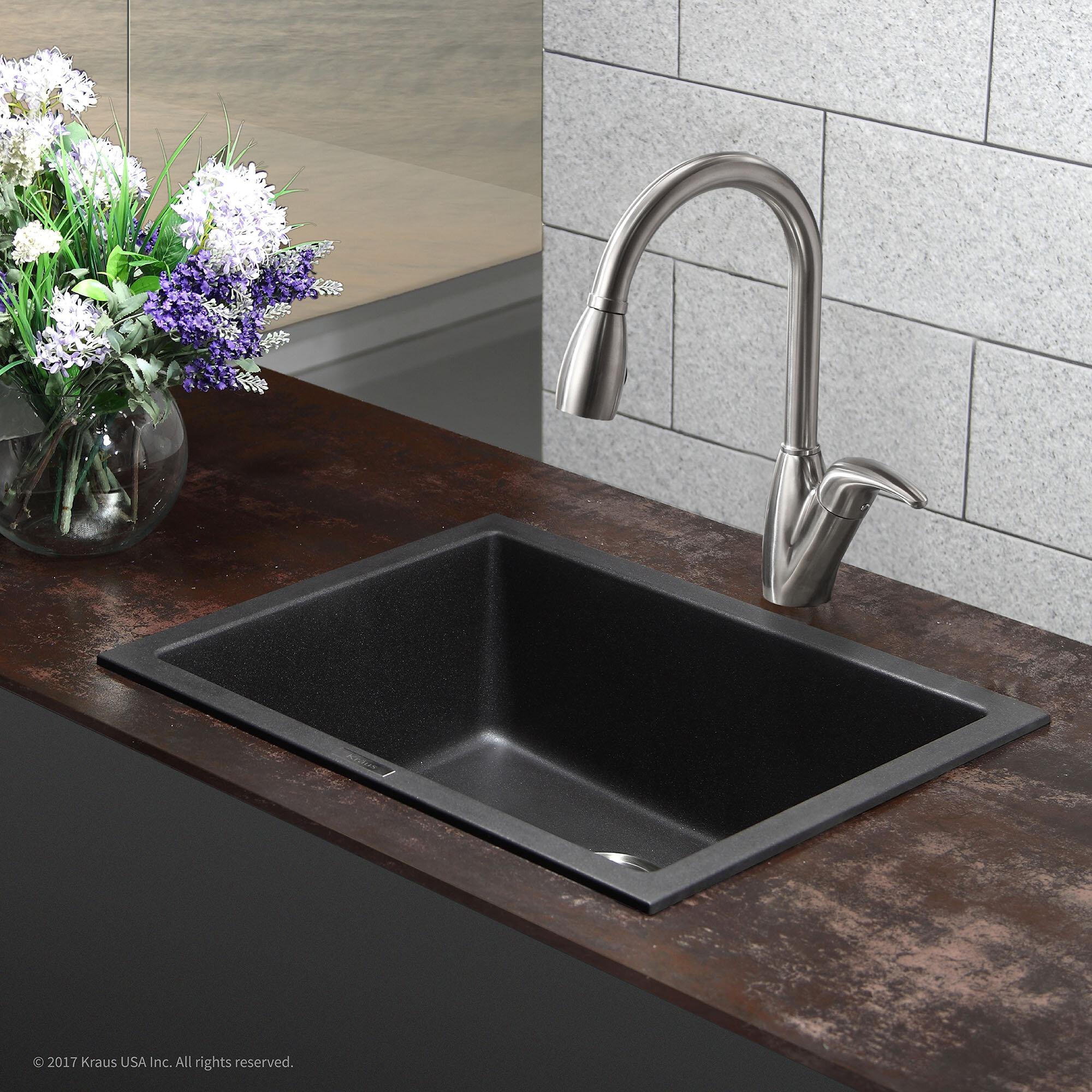 """Kraus 24"""" x 18"""" Drop In Kitchen Sink & Reviews"""