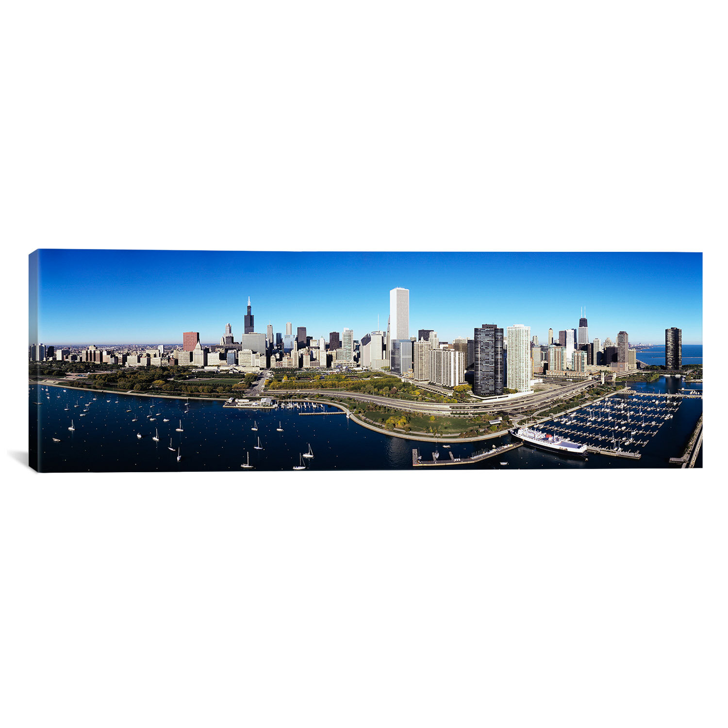 Ebern Designs Panoramic Boats Docked At A Harbor Chicago Illinois Photographic Print On Canvas Wayfair