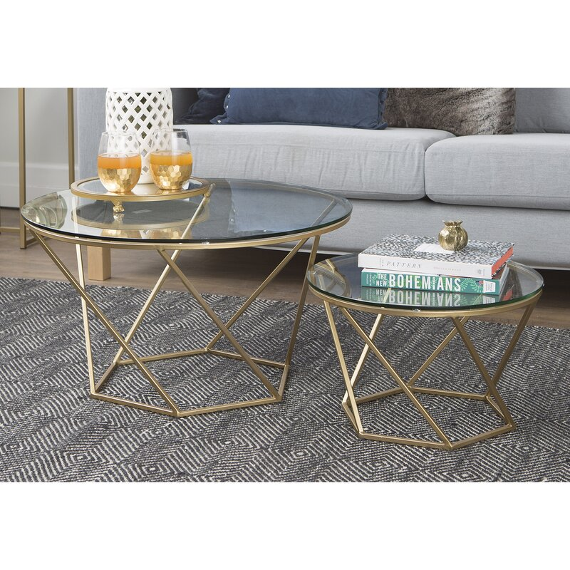 Vintage Glass Coffee Table Set Furniture Living Room Metal Side Table 2  Pieces Part 94