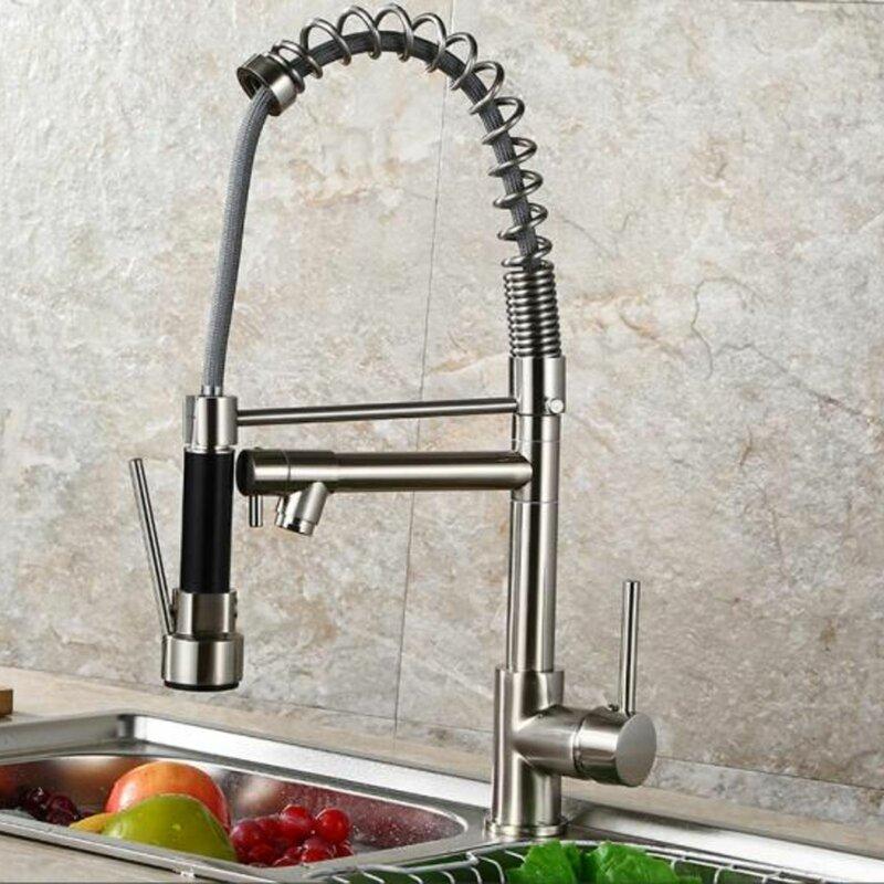 E Joy Pull Down Double Handle Kitchen Faucet Wayfair