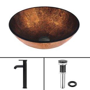 Russet Glass Circular Vessel Bathroom Sink with Faucet VIGO