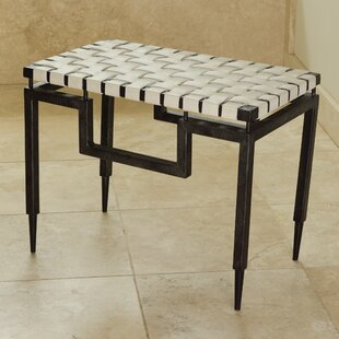 Iron and Leather Bench by Global Views