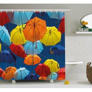 Umbrellas Colors the Sky Decor Single Shower Curtain