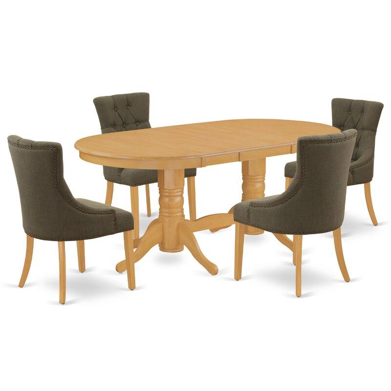 Winston Porter Nowayton 5 Piece Extendable Solid Wood Dining Set Wayfair