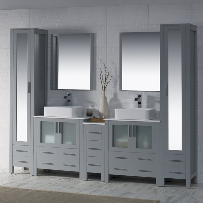 Orren Ellis Mance 103 Double Bathroom Vanity Set With Mirror Wayfair