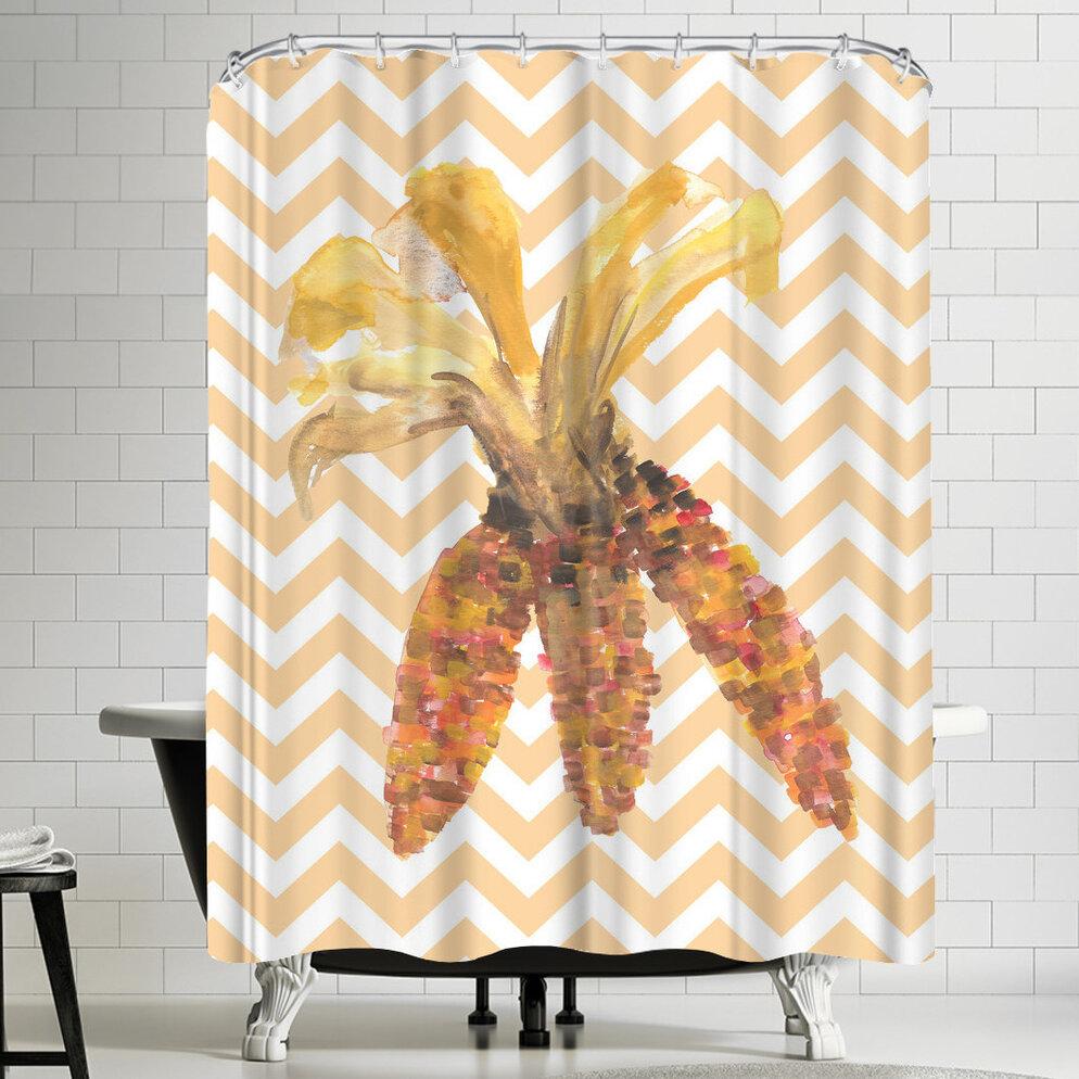 East Urban Home Jetty Printables Chevron Corn Autumn Shower Curtain U0026  Reviews | Wayfair