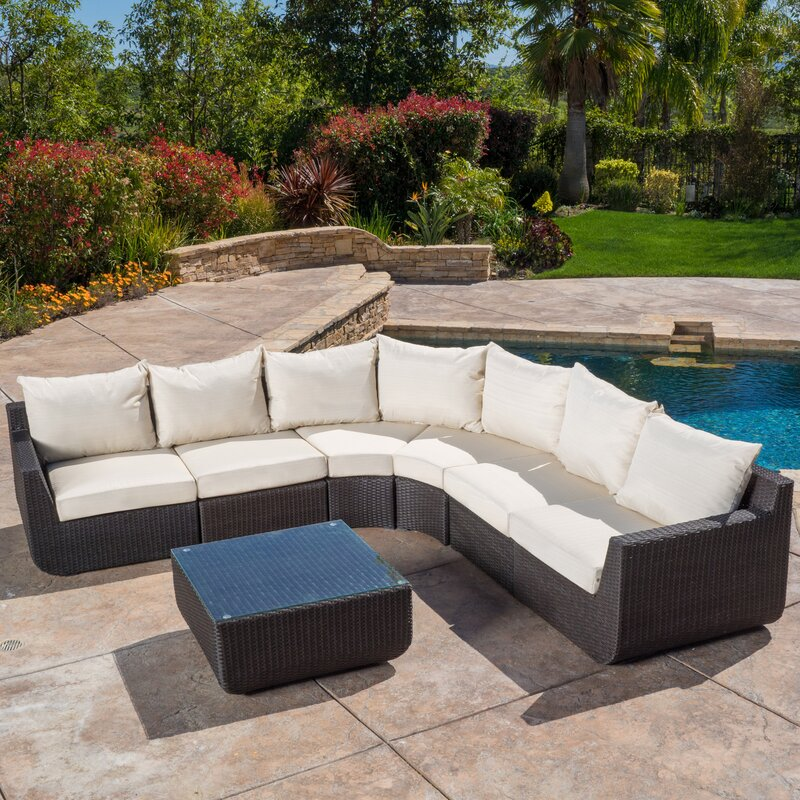 Superior Liverman 7 Piece Outdoor Wicker Sectional Seating Group With Cushions