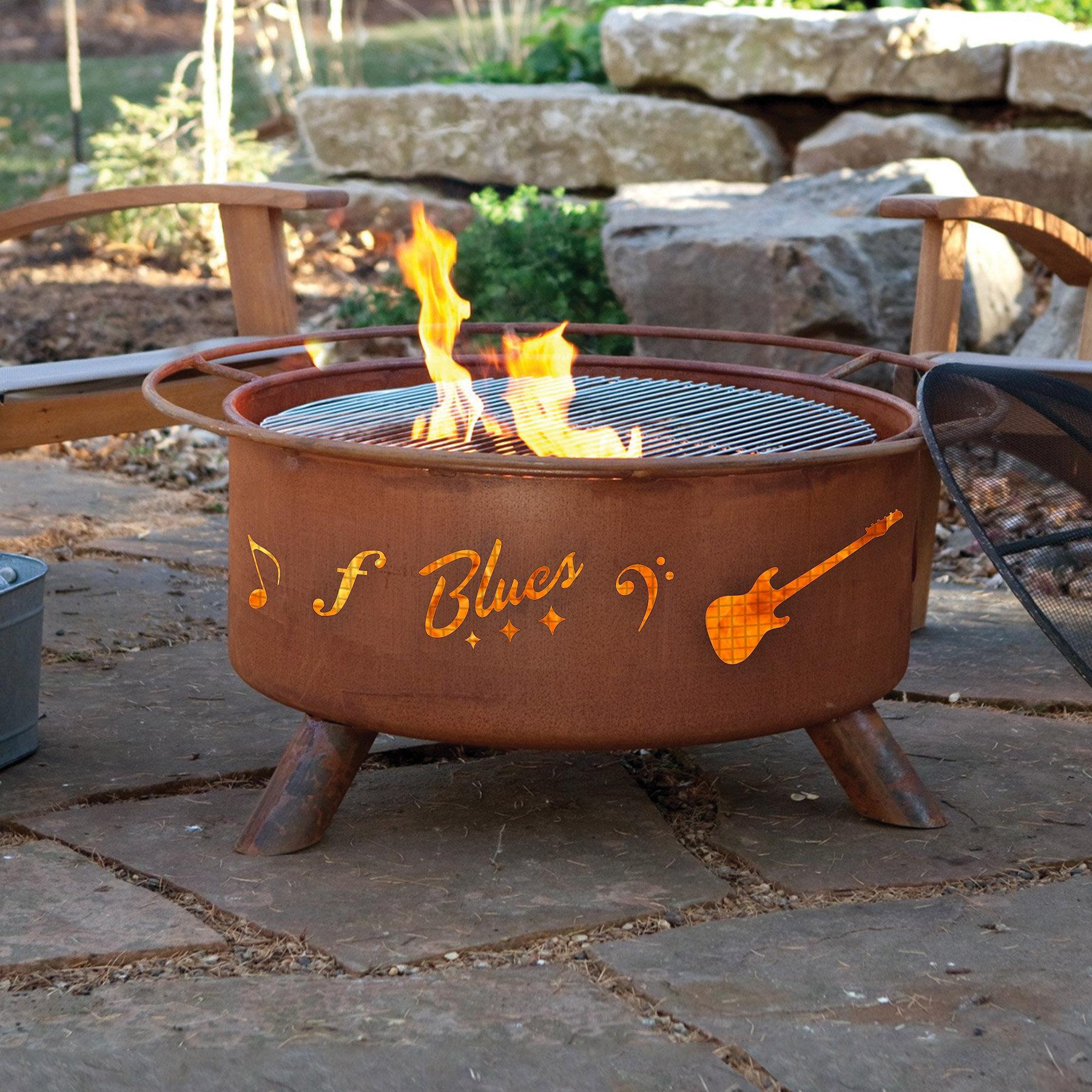 Millwood Pines Jeanlouis Music Steel Wood Burning Fire Pit Reviews Wayfair