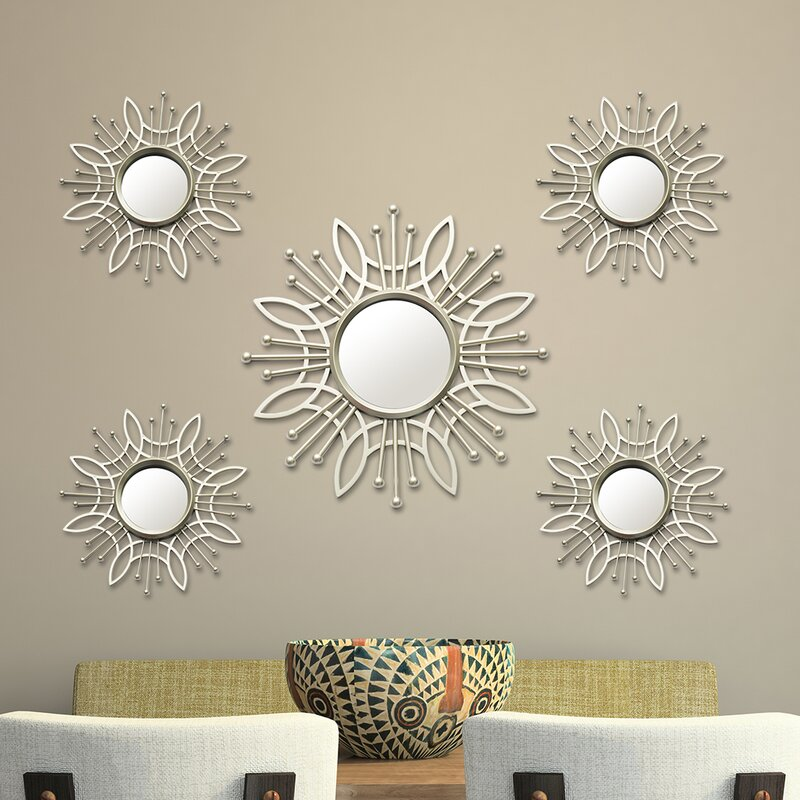 Wall Decor Mirror Sets stratton home decor 5 piece burst wall mirror set & reviews | wayfair