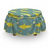 Shark Friendly Fishes 2 Piece Box Cushion Ottoman Slipcover Set by East Urban Home