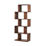59 H x 21.6 W Solid Wood Geometric Bookcase by Loon Peak®