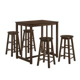 Meltham 5 Piece Counter Height Solid Wood Dining Set