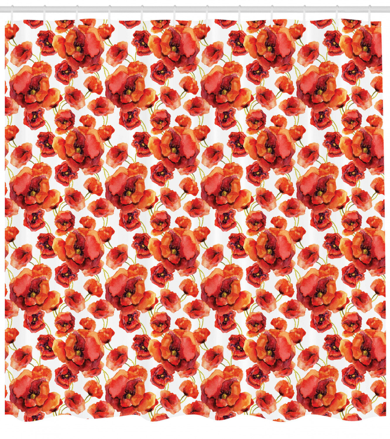 Red Poppy Flower Beige Floral Fabric Shower Curtain Digital