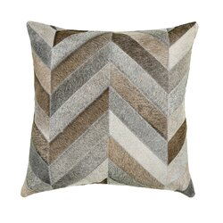 Saddlemans Chevron Gris Square Leather Suede Pillow Cover And Insert Wayfair Ca