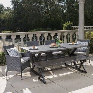 Ghislaine 6 Piece Dining Set with Cushions by Highland Dunes