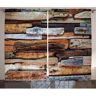 Carleon Driftwood Decor Abstract Semi Sheer Rod Pocket Curtain Panel Set Of 2