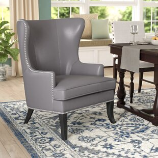 Lamberth Wing Genuine Leather Upholstered Dining Chair in Pebble Leather by Darby Home Co