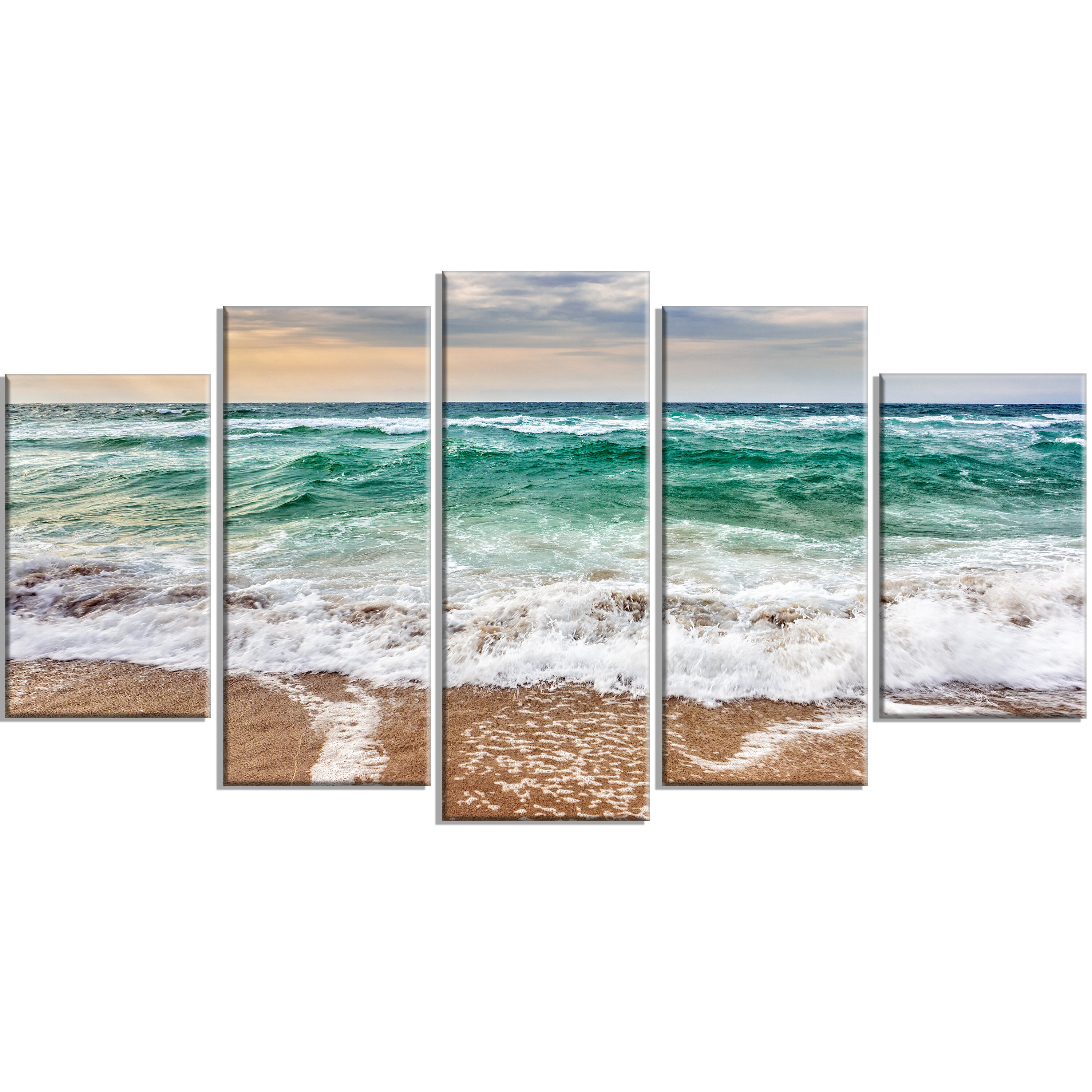 Designart Crystal Clear Blue Foaming Waves 5 Piece Wall Art On Wrapped Canvas Set Wayfair