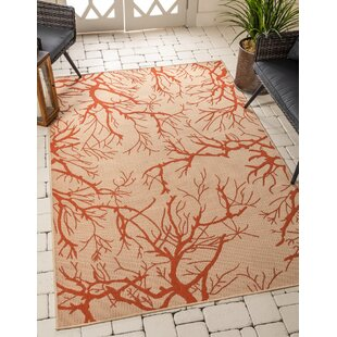 Amher Beige/Orange Indoor/Outdoor Area Rug