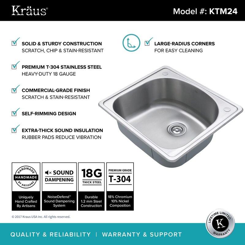 kitchen combos stainless steel 25   x 22   drop in kitchen sink kraus kitchen combos stainless steel 25   x 22   drop in kitchen      rh   wayfair com