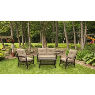 Tanisha 4 Piece Rattan Sofa Seating Group with Cushions