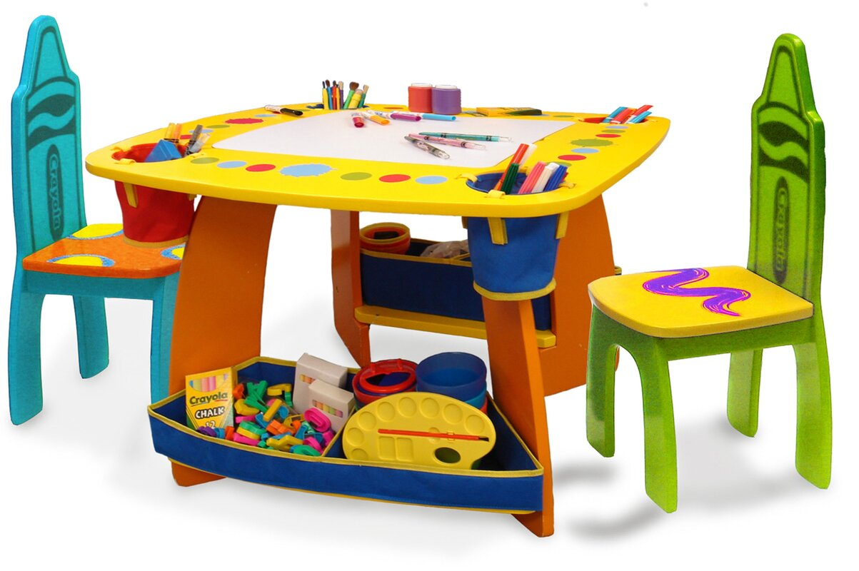 Crayola Wooden Kids 3 Piece Table and Chair Set - Grow 'n Up Crayola Wooden Kids 3 Piece Table And Chair Set