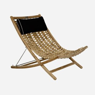 Karly XL Reclining Teak Chaise Lounge with Cushion