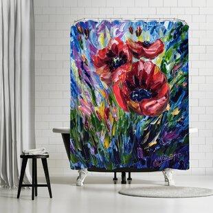 Best Price OLena Art Poppies Shower Curtain ByEast Urban Home